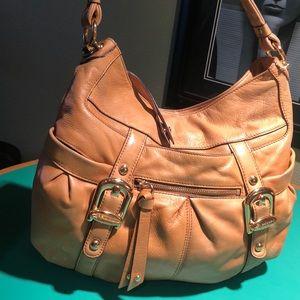 B. Makowsky Tan Leather Large Shoulder Handbag